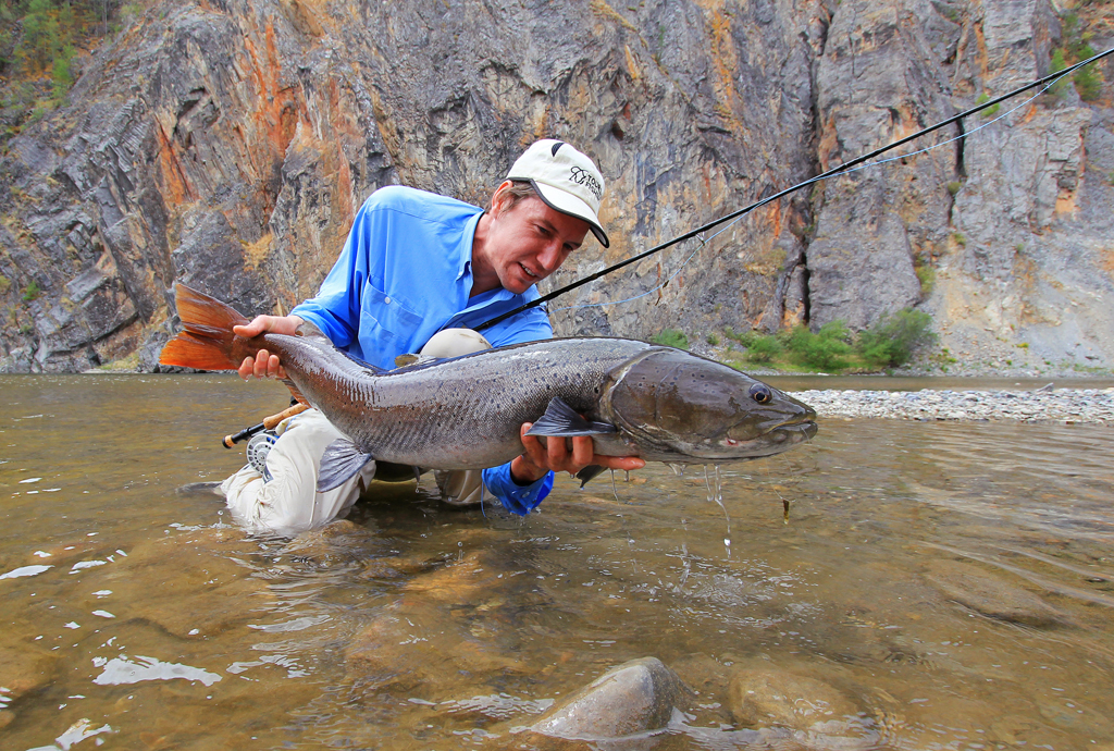 Leonard Flemming with a Mongolian taimen