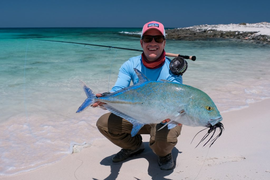 Peter Coetzee with a bluefin trevally in Socotra