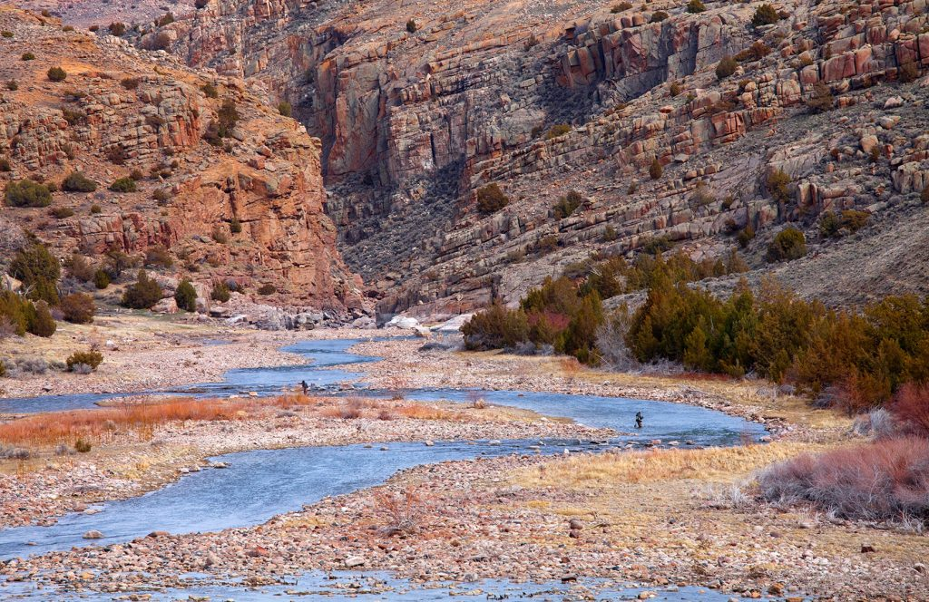Spring fishing in the upper reaches of Fremont Canyon, a tailwater below Pathfinder Reservoir. Photo Mark Lewis