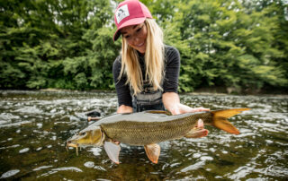 Marina Gibson with a barbel caught in Germany