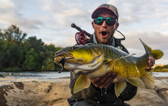 Jame Kirsten with a largemouth yellowfish from the Orange river