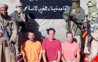 Johan Gustaffson from Sweden, Sjaak Rijke from the Netherlands and South African Steve McGown when they were prisoners of AQIM (Al Qaeda in the Islamic Maghreb)