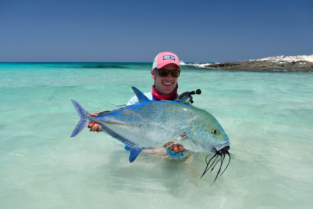 Peter Coetzee with a great bluefin trevally in Socotra