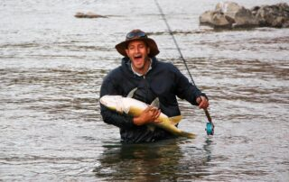 Graham Forrer with a largemouth yellow caught on the Orange river