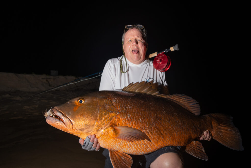 Thomas Camp with a beast of a Cubera snapper caught at Sette Cama, Gabon