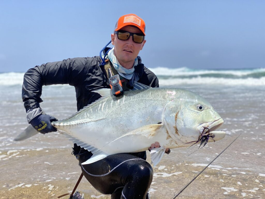 Jack Lotter with a 104cm GT caught off the beach in northern KwaZulu-Natal.