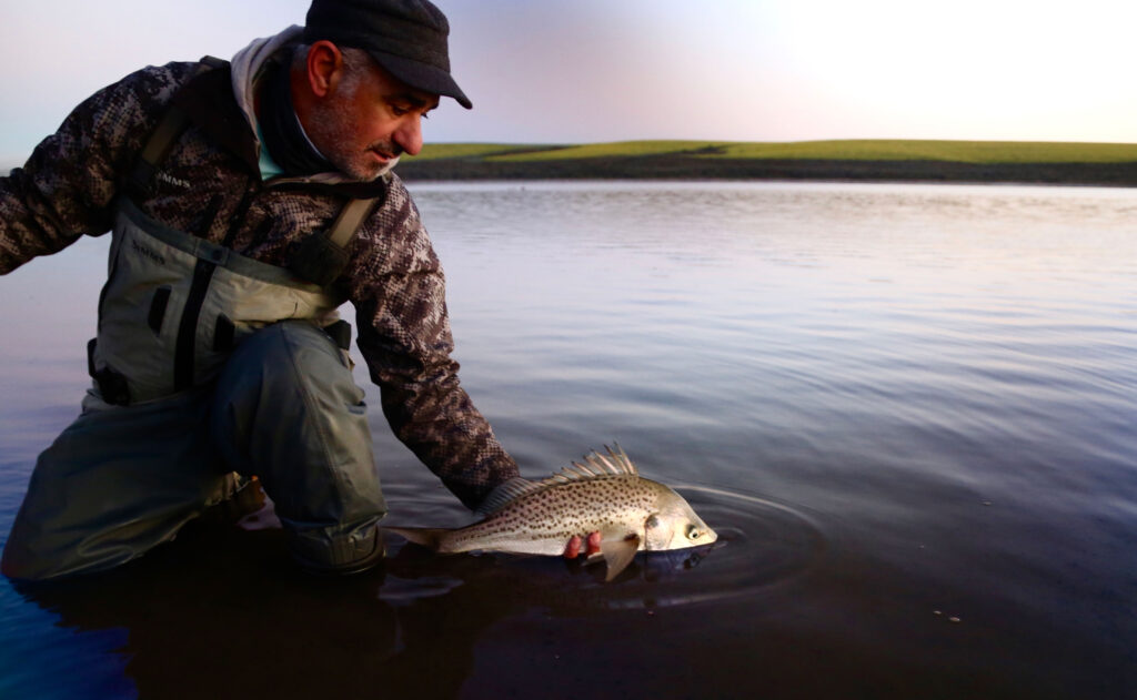 Platon Trakoshis with a spotted grunter