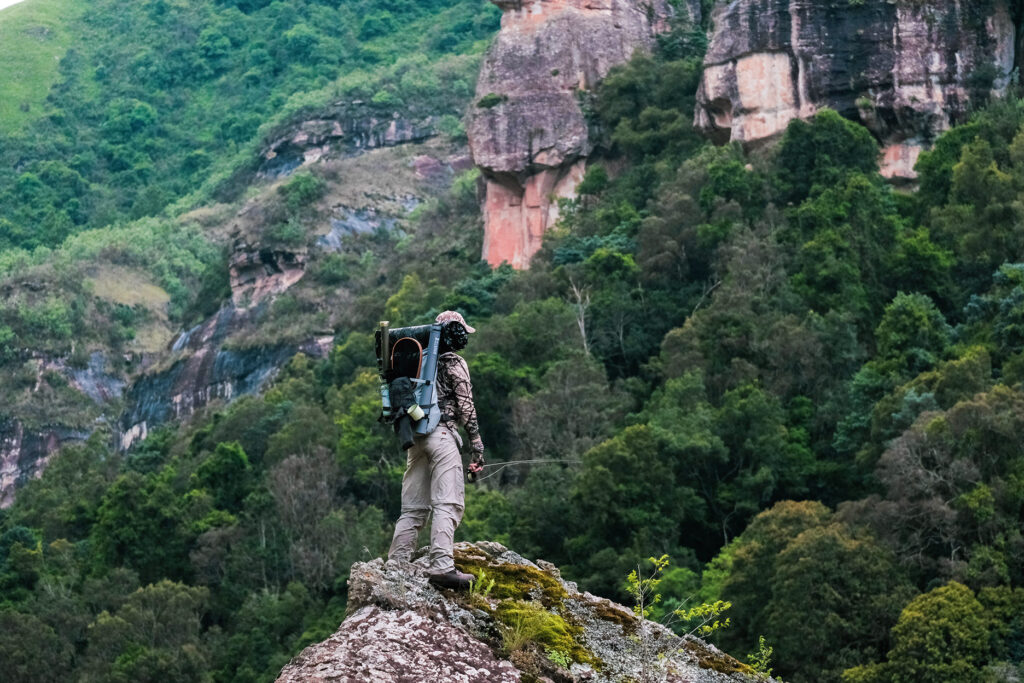Shaun Futter doing his best baboon impression in the Injasuti valley