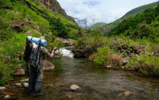 Shaun Futter catches a rainbow trout on the Injasuti river in KwaZulu-Natal, South Africa