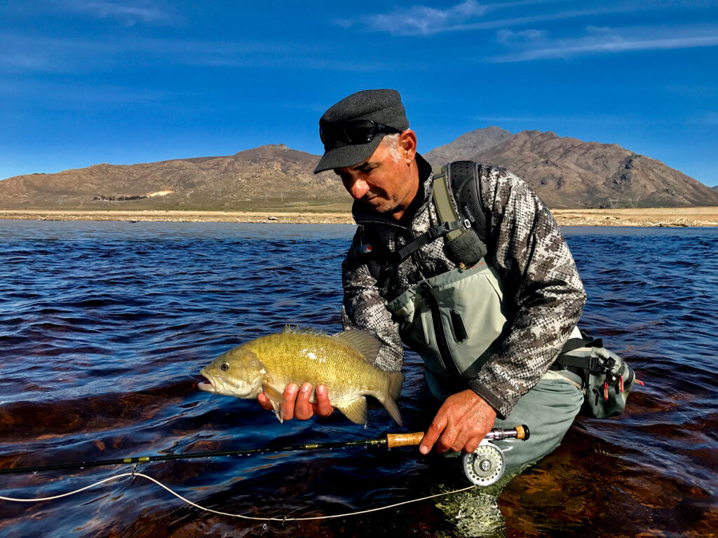 Platon Trakoshis with a Western Cape smallmouth bass