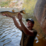 Leonard Flemming with a witvis caught deep in the mountains of the Western Cape