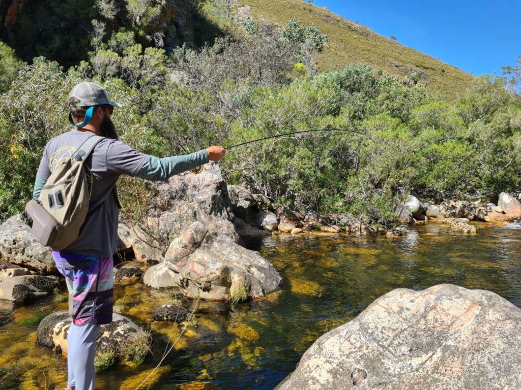 Nic Schwerdtfeger getting to grips with light tippet and small fish on ther Elandspad river