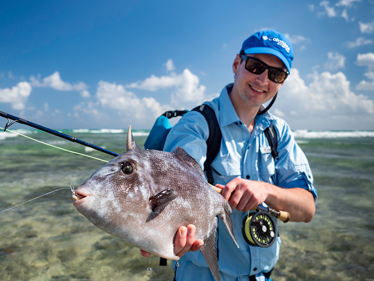 Gerald Penkler with an ocean triggerfish caught in Mexico