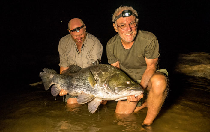 Ed Truter, Mike Fay and a massive Nile perch from African Waters' Gassa camp on the Faro river in Cameroon