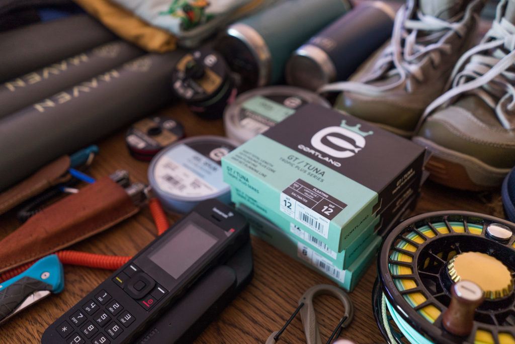 Some of the gear Christiaan Pretorius packs for a flats trip to Poivre