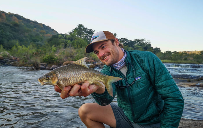 Milan Germishuizen with a largescale yellowfish