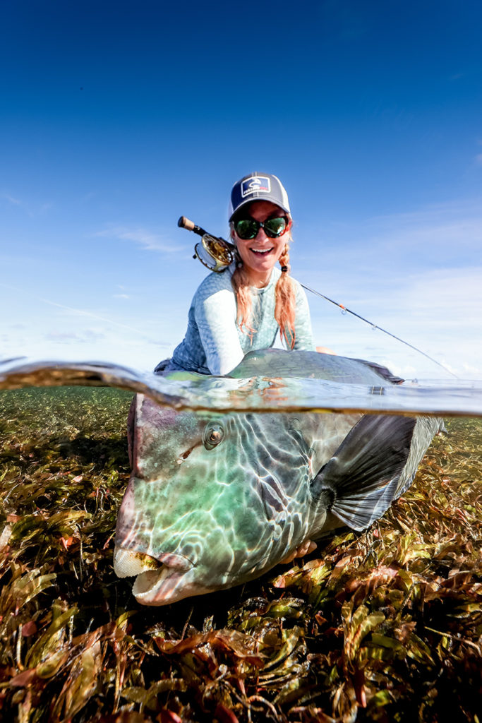 Marina Gibson with a bumphead parrotfish from Farquhar