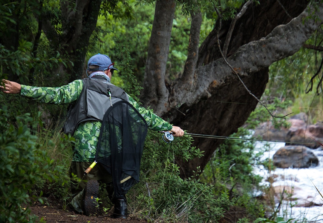 MC Coetzer fly fishing competitively and about to employ a bow and arrow cast