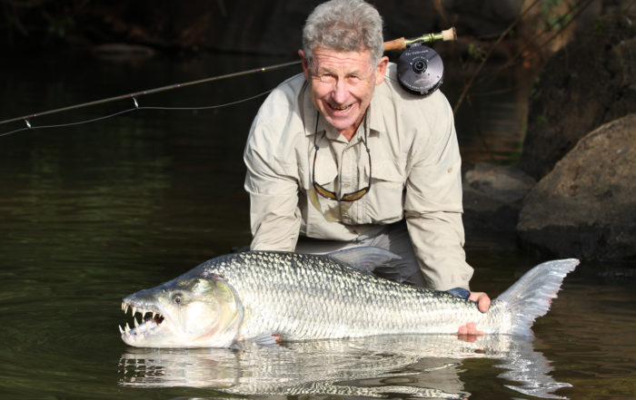 Jeremy Block with a world record Goliath tigerfish caught on fly